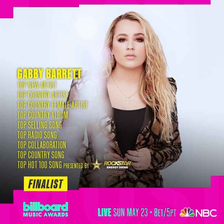 Gabby Barrett earned nine 2021 Billboard Music Awards nominations, making her the female finalist with the most nods this year across all genres.