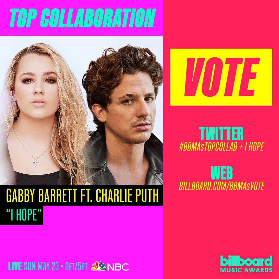 VOTE NOW for Gabby Barrett and Charlie Puth for Top Collaboration at the 2021 Billboard Music Awards!