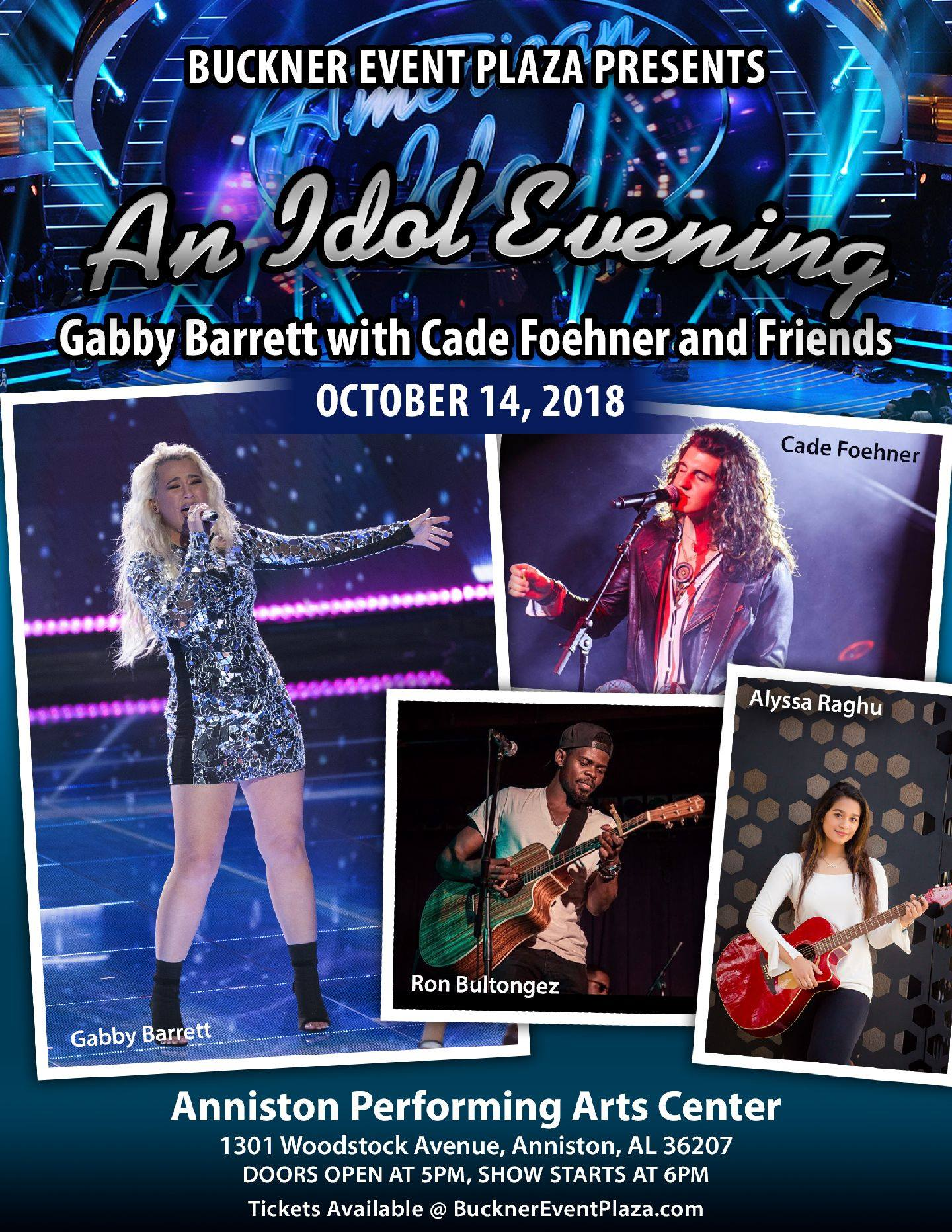 An Idol Evening...Gabby Barrett with Cade Foehner and Friends - Anniston Performing Arts Center - Anniston, AL - October 14, 2018