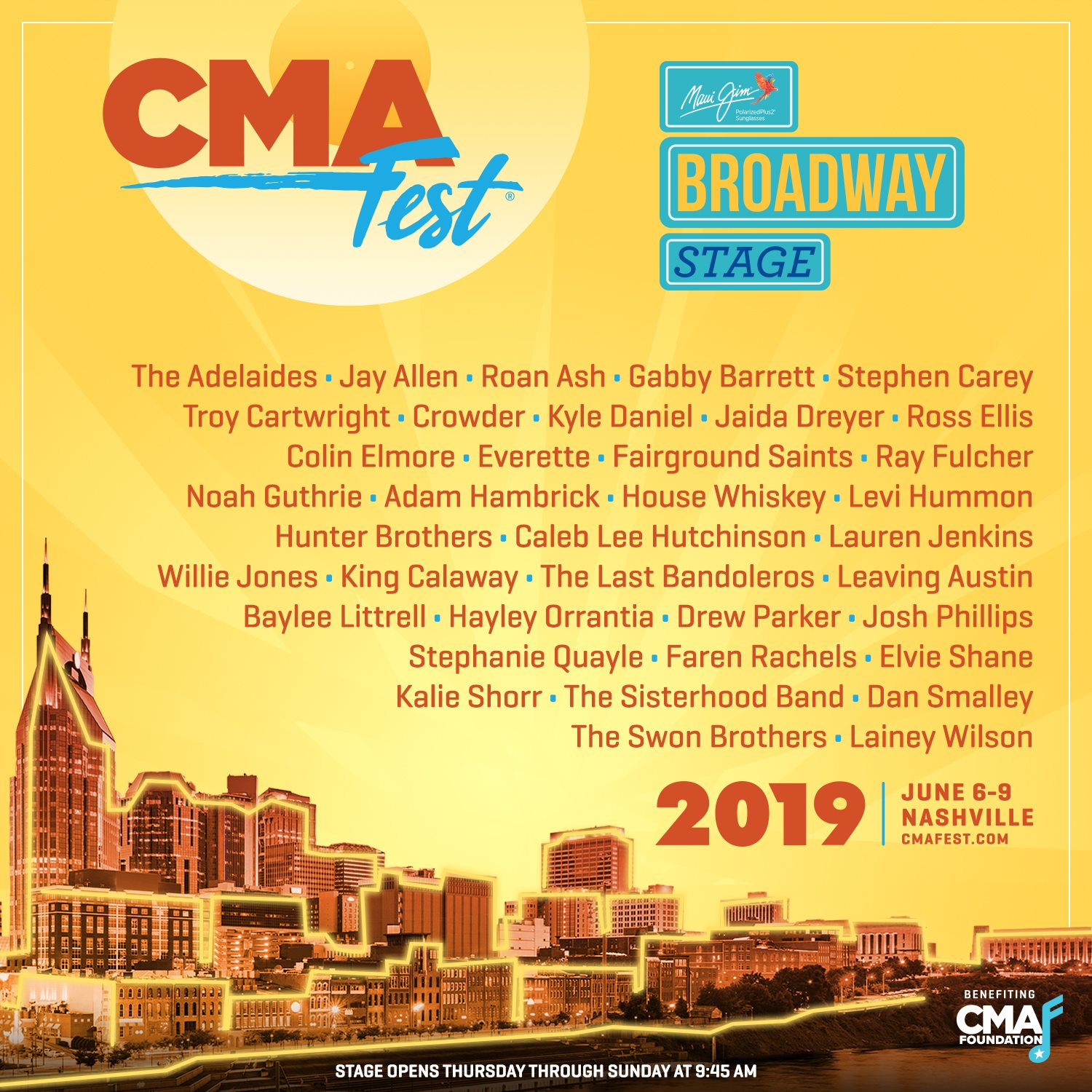 JUNE 6 - CMA FEST 2019 - MAUI JIM BROADWAY STAGE AT BRIDGESTONE PLAZA - NASHVILLE, TN