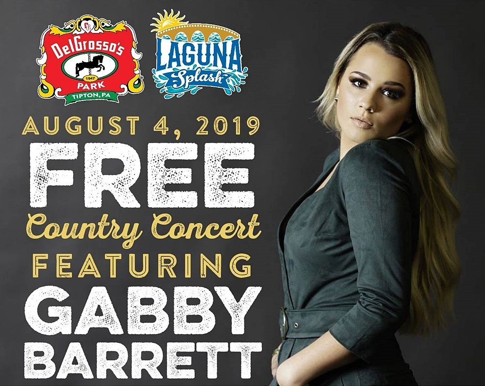 Gabby Barrett will be heading to Tipton, PA to perform at DelGrosso's Amusement Park on Sunday, August 4, 2019.