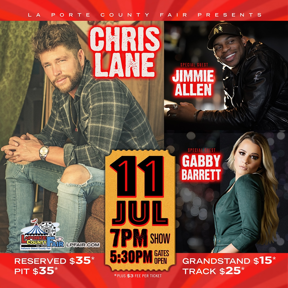 LaPorte County Fair presents Chris Lane, Gabby Barrett, and Jimmie Allen in concert on July 11, 2019, in LaPorte, Indiana.