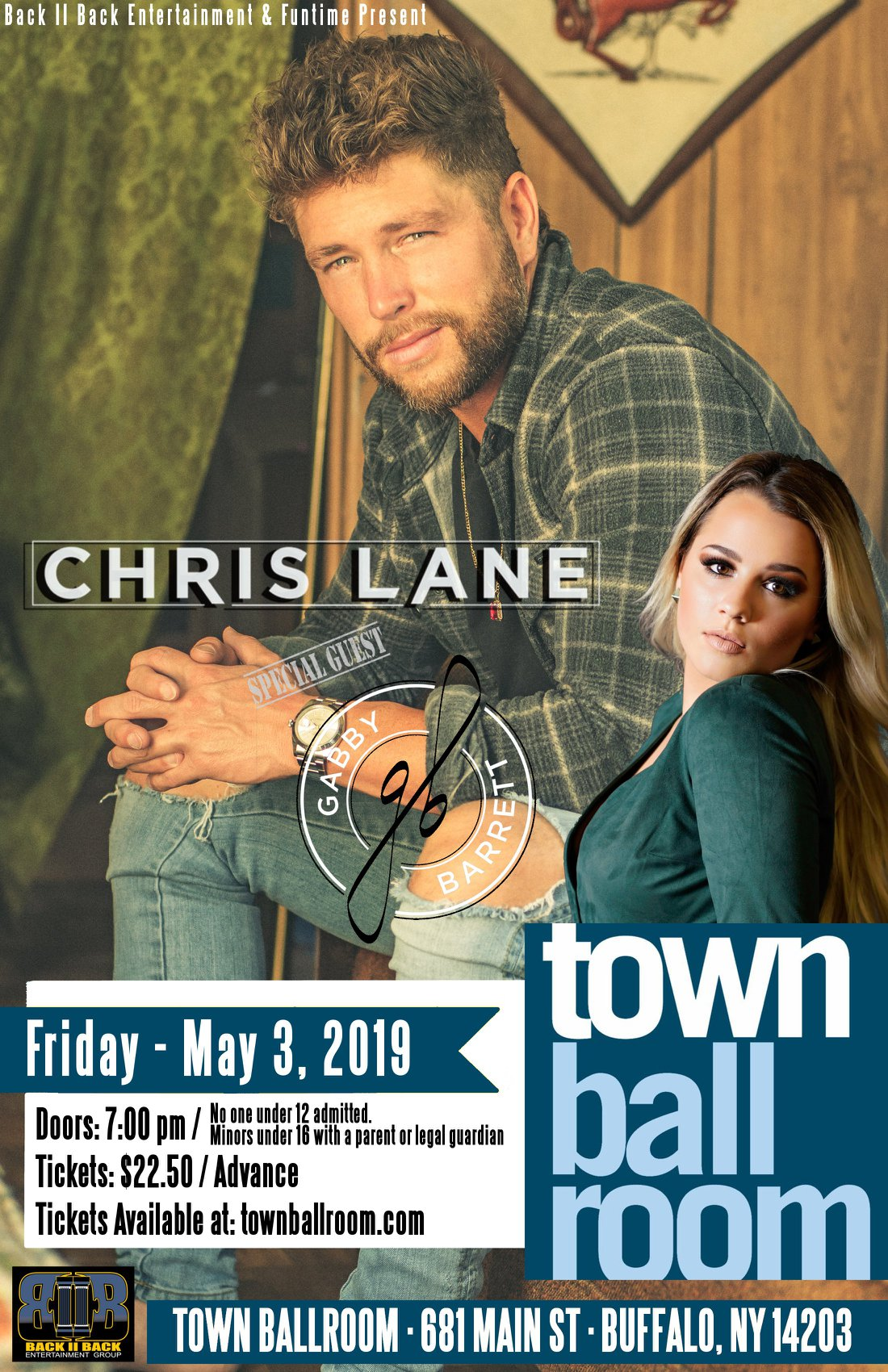 Country singer Chris Lane will be joined by special guest Gabby Barrett at the Town Ballroom in Buffalo, NY on Friday, May 3, 2019.