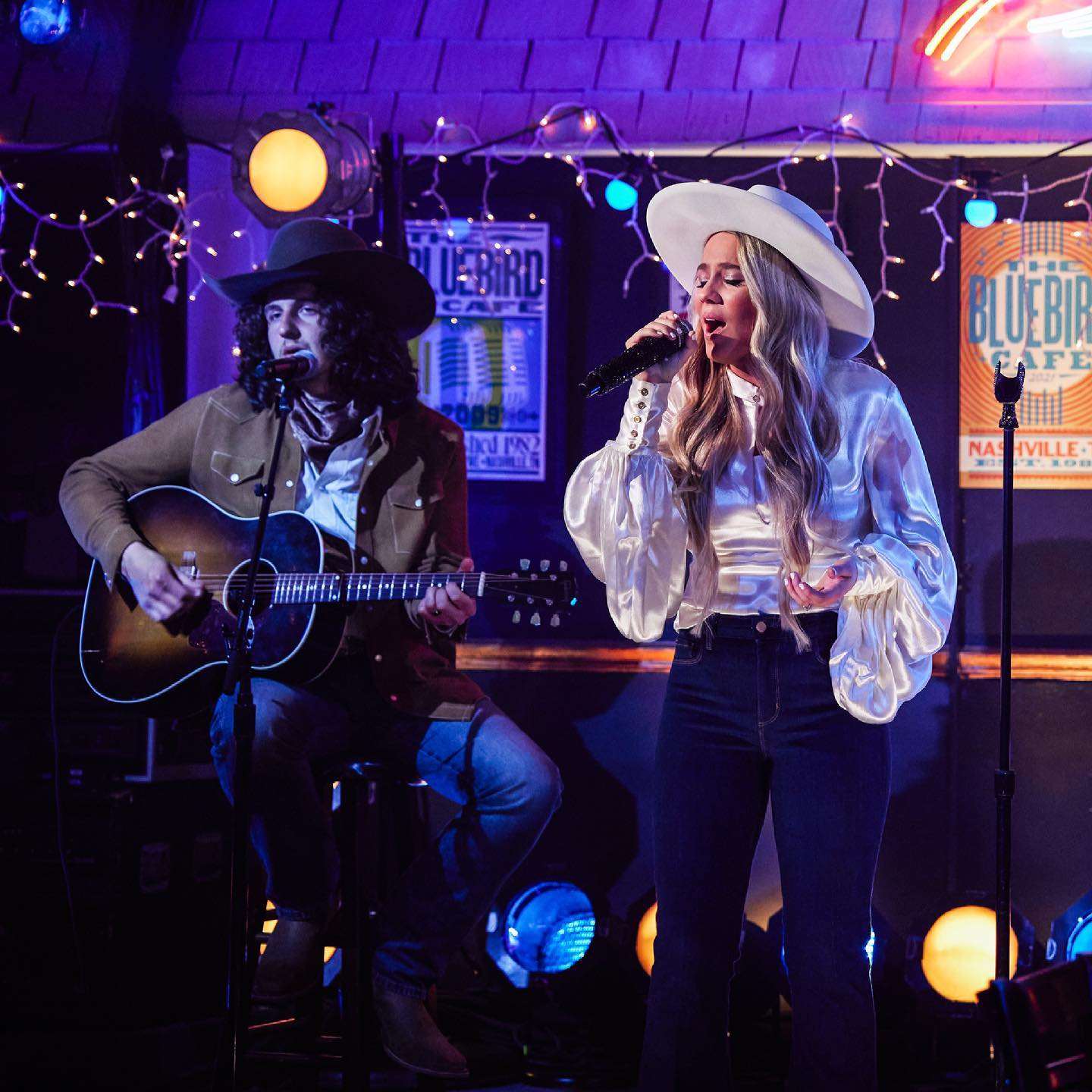 Gabby Barrett and Cade Foehner performing at the 56th ACM Awards