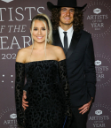 Gabby Barrett and Cade Foehner on the red carpet at the 2021 CMT Artists Of The Year event
