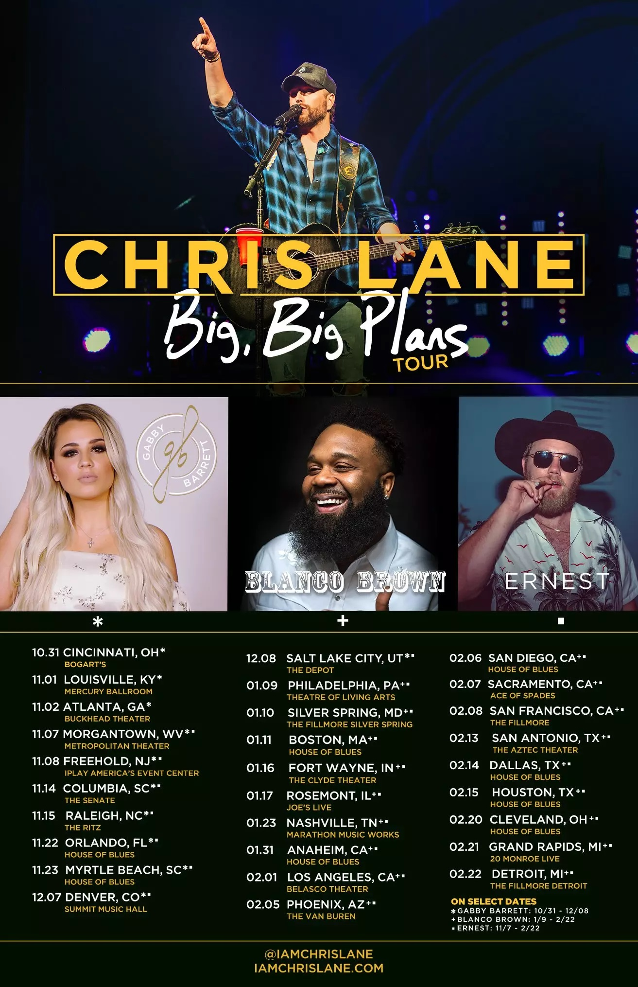 CHRIS LANE'S BIG, BIG PLANS TOUR WITH GABBY BARRETT, BLANCO BROWN, AND ERNEST IN FALL/WINTER 2019-2020