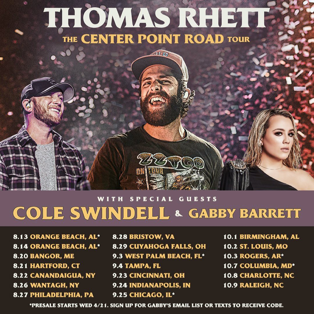 Thomas Rhett has announced his headlining The Center Point Road Tour with Cole Swindell and Gabby Barrett in Summer/Fall 2021.