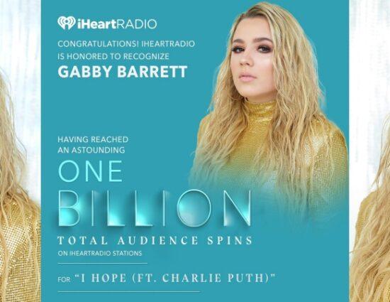 Gabby Barrett Earns 2020 iHeartRadio Titanium Award for 1 Billion Spins